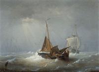 marine avec bateaux de pêche by egidius linnig