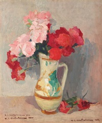pot with roses by honorius cretulescu
