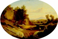a figure in an italian landscape by johann georg gmelin