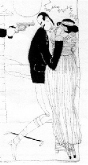 gun pointed at man's head as he holds woman by ralph barton