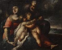sainte famille et saint jean-baptiste dans un paysage by valerio castello