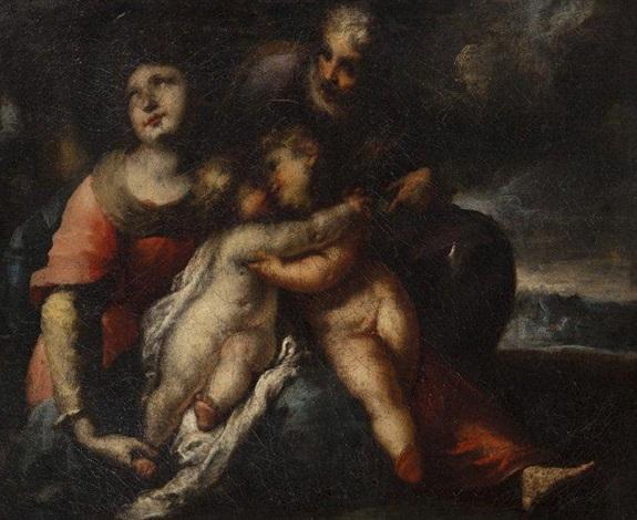 sainte famille et saint jean baptiste dans un paysage by valerio castello