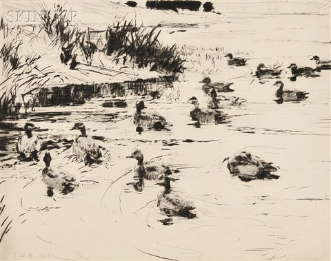 ducks at play by frank weston benson