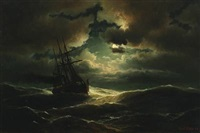 seascape with three masted steamer in the moonlight by carl ludwig bille