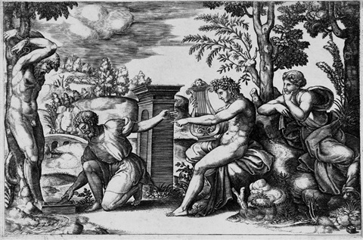 apollon et marsyas after raphael by bernardo dado daddi