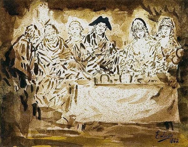 seis personajes en torno a una mesa by eugenio lucas velázquez