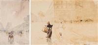 la rue de rivoli bordée par le jardin des tuileries et le louvre (+ la vie quotidienne sur les grands boulevards, paris; 2 works) by francis garat