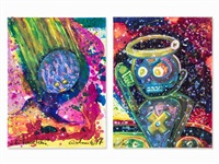 two space paintings (2 works) by andora