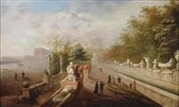 vue imaginaire des jardins de la villa d'este à tivoli by johann wilhelm baur