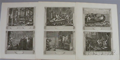 industry and idleness suite of 12 by william hogarth