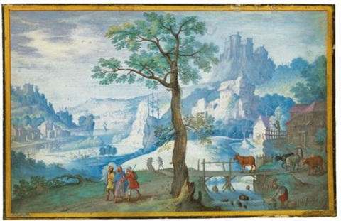 landscape with christ on the road to emmaus a woman herding cattle to the right by hans bol