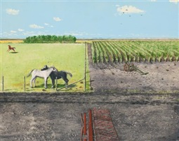 horses resting on sunday by william kurelek