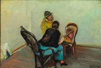 the painter's wife oda krohg is painting niels gaihede, a fisherman from skagen by christian krohg