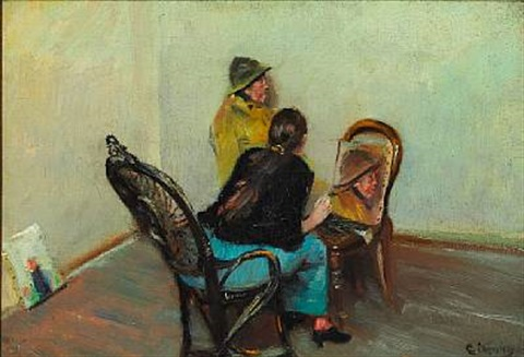 the painters wife oda krohg is painting niels gaihede a fisherman from skagen by christian krohg