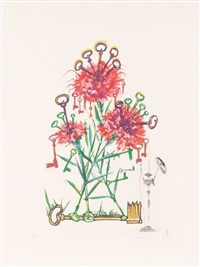 carnation with keys (dianthus carophillius cum clavinibus multibibis) by salvador dalí
