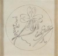 pour bonheur (pencil sketch for bottom of vase) by émile gallé