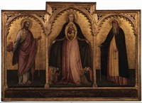 the madonna of mercy with st. james and st. anthony abbott by jacobello del fiore