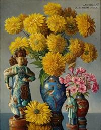 stilleben mit chinesischen vasen und figurinen by alois raimund hein