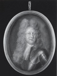 a nobleman wearing full-bottomed wig, armour and white lace jabot by benjamin arlaud