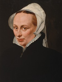portrait of a lady in a black dress with a white collar and lace cap by willem key