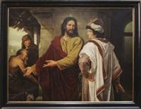 jésus parmi les docteurs et jésus et le jeune homme riche (2 works) by jozef willemszoon hoevenaar