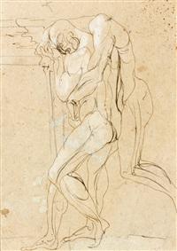 deux figures nues imbriquées à hauteur du coin d'un encadrement by auguste rodin