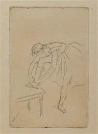 danseuse remettant son chausson by edgar degas