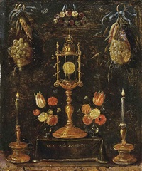 a pyx with roses, tulips and carnations in glass vases on a draped altar, flanked by two candlesticks, decorated with swags of fruit and flowers by jan van kessel
