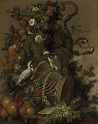 two loggerhead shrikes on a reed cage, apples, peaches, grapes, pears, red berries and cherries together with flowers hanging from a vase by jacobus vonck
