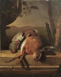 jagdstilleben mit hase und rebhuhn by jan hendrik heerenbrood