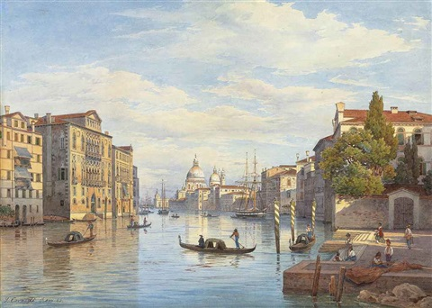 the grand canal and the basilica of santa maria della salute venice by salomon corrodi