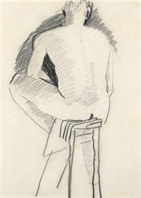 man sitting on stool, seen from the back by david park