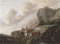 a hawking party beside a stream on a mountain path by claes van beresteyn