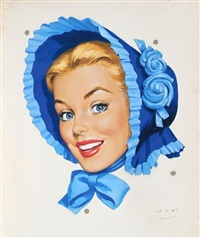 smiling blonde woman in blue bonnet (illus. for blue bonnet butter) by len goldberg