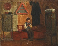 reading boy in an interior by johann julius exner