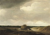 a dune landscape with peasants, cattle and a cart of hay on a path by guillam dubois