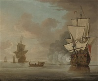 an english man-o'war saluting the flagship as she gets underway from her anchorage by samuel scott