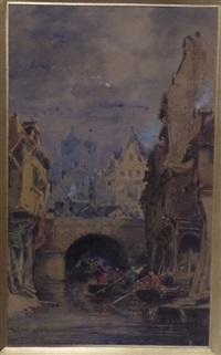 pont d'une ville bretonne avec barques by jules achille noel