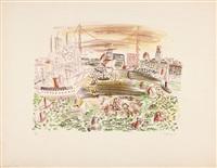 le vieux port de marseille ou le cortege d'amphitrite, une des six planches de la série la mer by raoul dufy