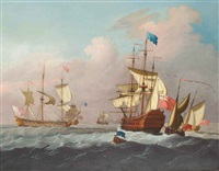 ships of the fleet hove-to offshore awaiting the arrival of an admiral of the blue approaching the flagship in his barge by francis swaine