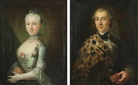 portraits of silver and goldsmith sivert and marie thorsteinsson, born marie larsdatter ottesen (pair) by hendrick loffler