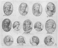 portraits of members of the medici family, including cosimo, giovanni, lorenzo il magnifico and alessandro by inigo jones