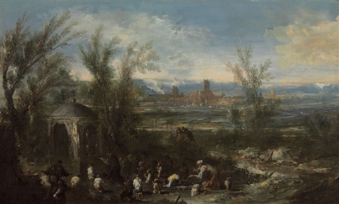 extensive landscape with figures at a shrine by antonio francesco peruzzini alessandro magnasco