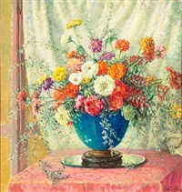 zinnias in a blue vase by anna lee stacey