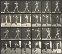 man swinging a baseball bat (from animal locomotion, plate 274) by eadweard muybridge