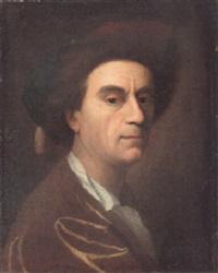 portrait of an artist, in a gold colored coat by johann christian fiedler