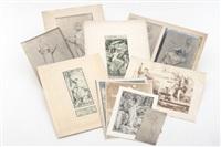 centenaire de la villa medicis / amicitiae et arti; damas, niños y ángeles; mujer romana / a rome carnaval de 1868 / maquette from un vitral (11 works) by luc olivier merson