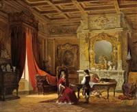 interieurszene aus einem renaissancepalast by achile battiztuzzi
