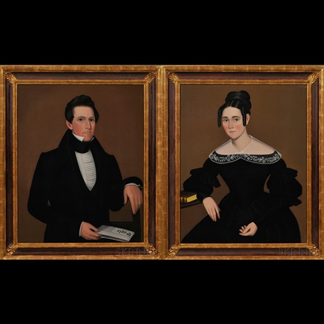 portraits of a young man and woman pair by ammi phillips