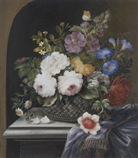 still life of roses, morning glory, chrysanthemum and other flowers resting on a ledge (+ still life of irises, tulips, narcissi and other flowers; pair) by madeleine françoise basseporte